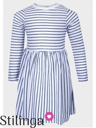 Balta dryžuota vaikiška suknelė 0795D163