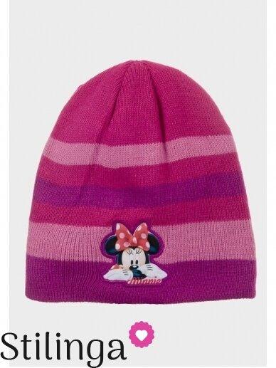 Dryžuota fuksijų spalvos vaikiška kepurė Minnie Mouse 0687D123