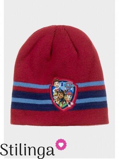 Dryžuota raudona vaikiška kepurė Paw Patrol 0679D123