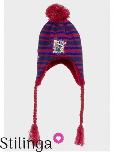 Dryžuota raudona vaikiška kepurė su pašiltinimu ir bumbulu Paw Patrol 0668D122