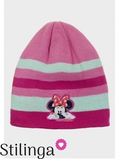 Dryžuota rožinės spalvos vaikiška kepurė Minnie Mouse 0685D123
