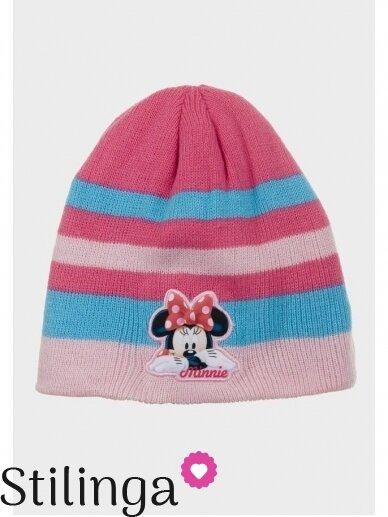 Dryžuota šviesiai rožinės spalvos vaikiška kepurė Minnie Mouse 0686D123