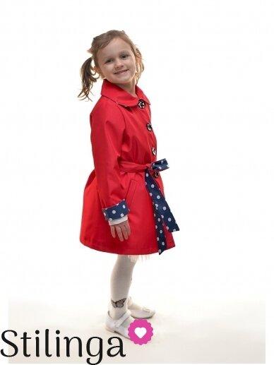 Elegantiškas raudonas lietpaltukas mergaitei 0351D059 2