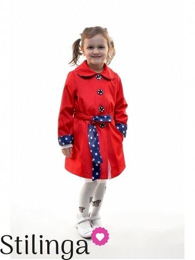 Elegantiškas raudonas lietpaltukas mergaitei 0351D059
