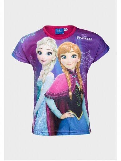 Frozen violetinės spalvos marškinėliai raudona apykakle 0983D183