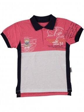 Fuksijų spalvos marškinėliai su sagutėmis 0054D12