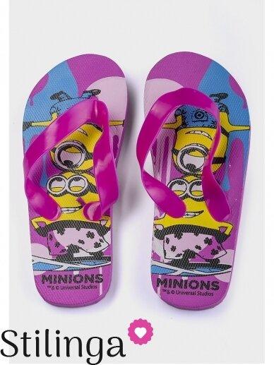 Fuksijų spalvos šlepetės Pakalikai su violetiniais dirželiais 0643D117