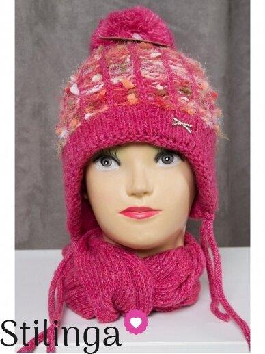 Fuksijų spalvos vaikiška kepurė ir šalikas K50D130