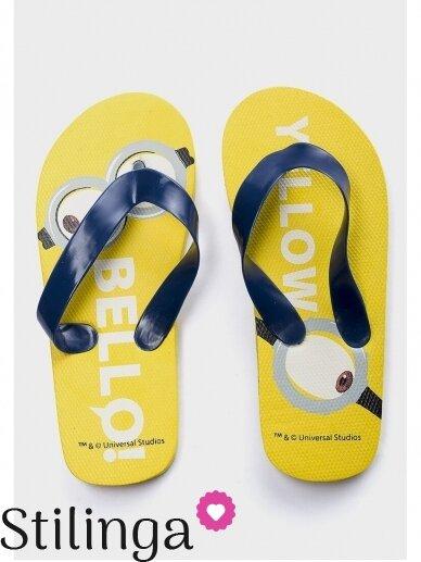 Geltonos šlepetės Pakalikai su tamsiai mėlynais dirželiais 0641D117