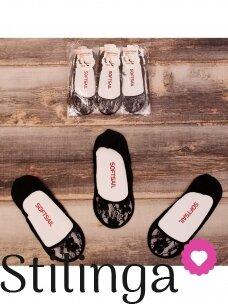 Juodos nėriniuotos kojinės pėdutės 0107D31