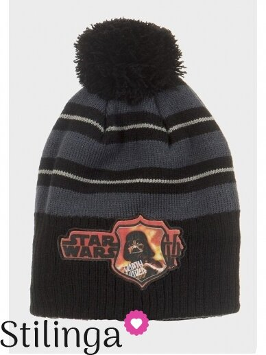 Juoda vaikiška kepurė su bumbulu Star Wars 0676D123
