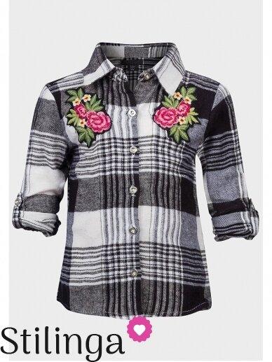 Languoti juodi vaikiški marškiniai su gėle 0797D163