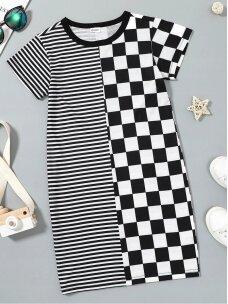 Madinga juoda balta vaikiška suknelė 0645D117