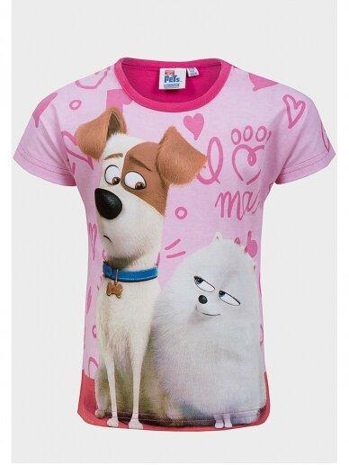 Marškinėliai su fuksijų spalvos apykakle The Secret Life of Pets 0970D181