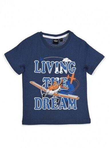 Mėlyni marškinėliai trumpomis rankovėmis Planes 0534D099