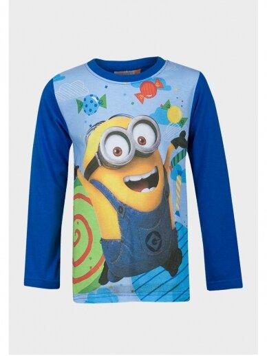 Minions marškinėliai mėlynomis ilgomis rankovėmis 1023D190