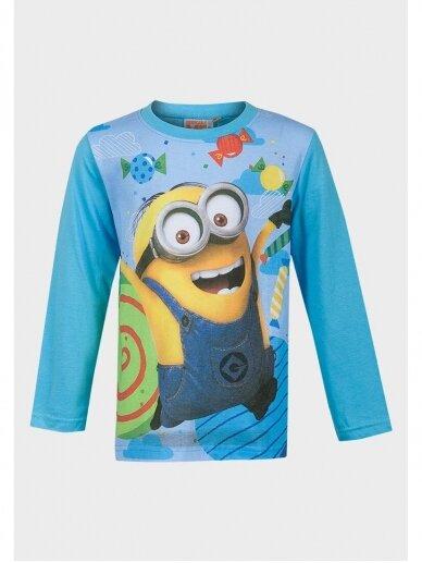 Minions žydri marškinėliai ilgomis rankovėmis 1024D190