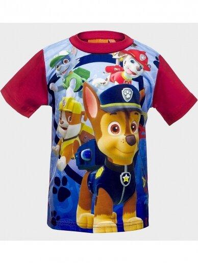Paw Patrol mėlyni raudoni marškinėliai trumpomis rankovėmis 1021D190