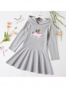 Pilka suknelė su gobtuvu Vienaragis 1264D83