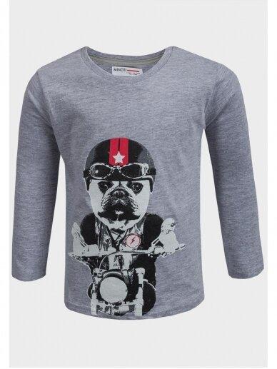 Pilkai marškinėliai ilgomis rankovėmis Šuo baikeris 0801D164