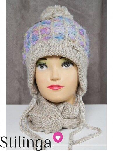 Pilka vaikiška kepurė ir šalikas K50D130