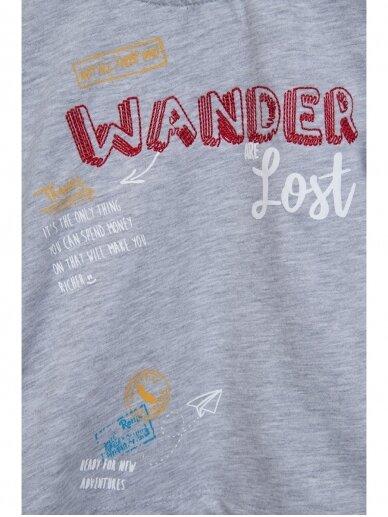 Pilki vaikiški marškinėliai WANDER ARE LOST 0803D164 2