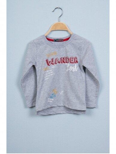 Pilki vaikiški marškinėliai WANDER ARE LOST 0803D164