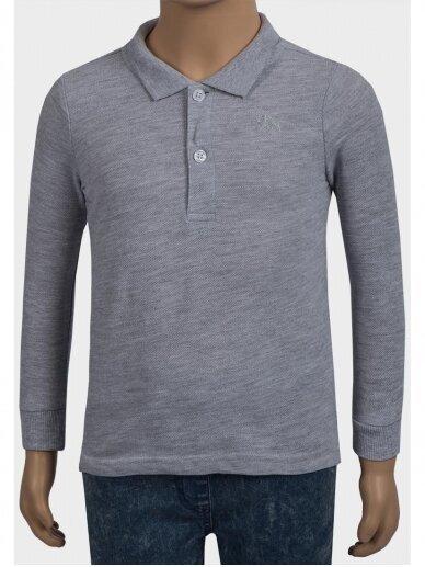 Pilki Polo marškinėliai ilgomis rankovėmis 0231D046