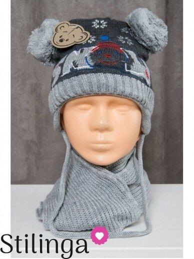 Pilkos grafito spalvos kepurė ir šalikas Snow Go R72D125