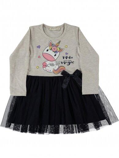 Pilkos ir juodos spalvos suknelė Vienaragis 0090D019