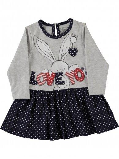 Pilkos ir tamsiai mėlynos spalvos suknelė Love You 0192D38