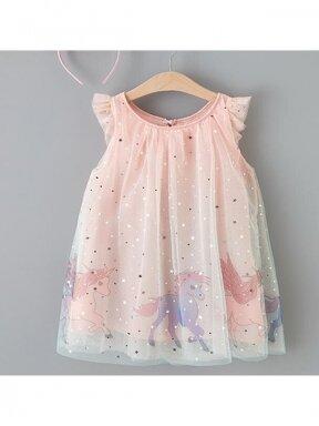 Puošni šviesiai rožinė suknelė su Vienaragiais 1104D064