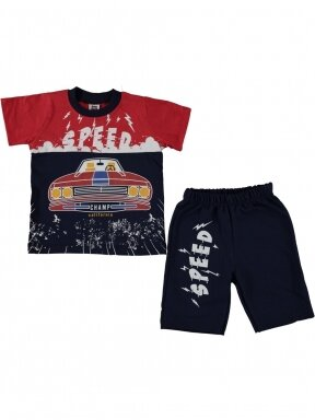 Raudoni mėlyni marškinėliai ir šortai Speed 1059D209