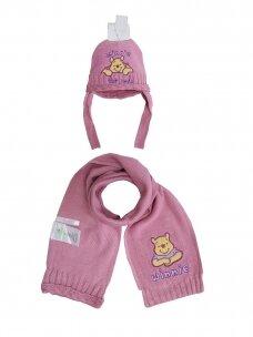 Rožinės spalvos kepurė ir šalikas WINNIE THE POOH 1050PLD06