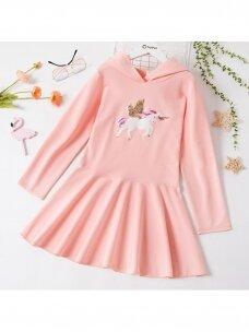 Rožinės spalvos suknelė su gobtuvu Vienaragis 1265D169