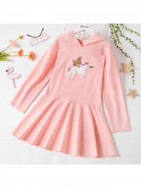 Rožinės spalvos suknelė su gobtuvu Vienaragis 1265D