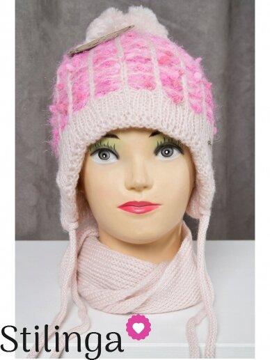 Rožinės spalvos vaikiška kepurė ir šalikas K50D130