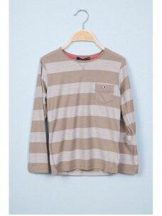 Smėlio spalvos dryžuotas plonas džemperis 0812D165