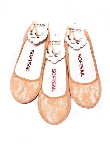Smėlio spalvos nėriniuotos kojinės pėdutės 0115D31