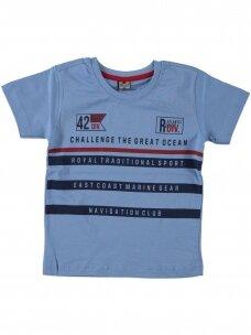 Šviesiai mėlynos spalvos marškinėliai 0050D12