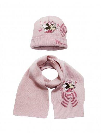 Šviesiai rožinės spalvos kepurė ir šalikas MINNIE MOUSE 1049PLD06