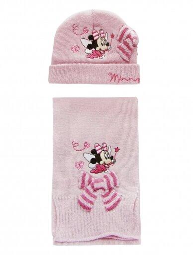 Šviesiai rožinės spalvos kepurė ir šalikas MINNIE MOUSE 1049PLD06 2