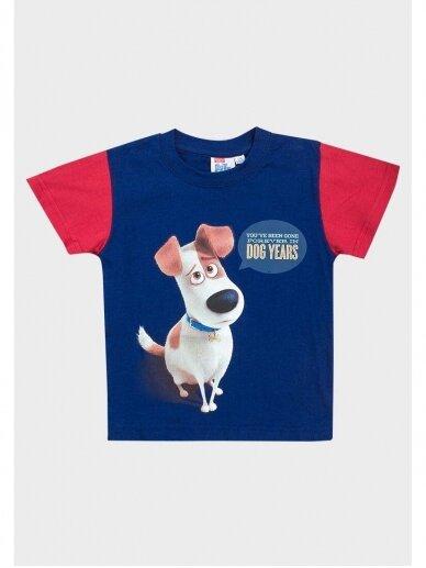 Tamsiai mėlyni marškinėliai trumpomis rankovėmis The Secret Life of Pets 0543D105