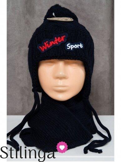 Tamsiai mėlynos spalvos kepurė ir šalikas Winter Sport K77D129