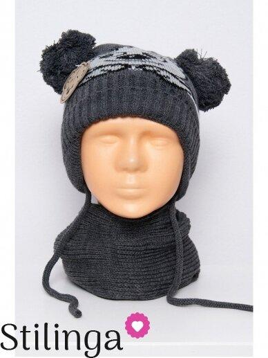 Tamsiai pilkos spalvos vaikiška kepurė ir šalikas K76D126
