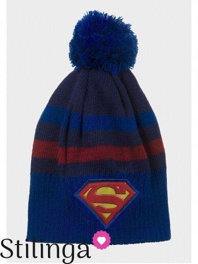 Vaikiška mėlyna kepurė su bumbulu Supermenas 0678D123