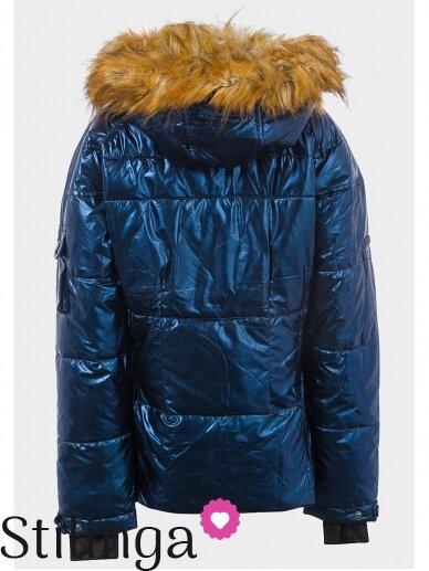 Vaikiška tamsiai mėlyna dygsniuotas striukė Xoxo 1112PL01/02 10