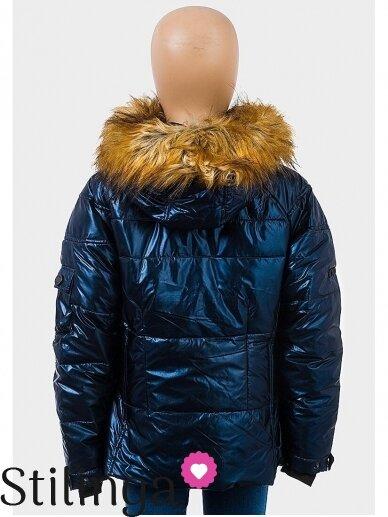 Vaikiška tamsiai mėlyna dygsniuotas striukė Xoxo 1112PL01/02 4