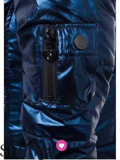 Vaikiška tamsiai mėlyna dygsniuotas striukė Xoxo 1112PL01/02 9
