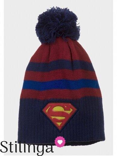 Vaikiška tamsiai mėlyna kepurė su bumbulu Supermenas 0677D123